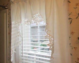 Vintage White Cotton Battenburg Swag - Battenburg Lace Curtain - Cottage Style Window Treatment