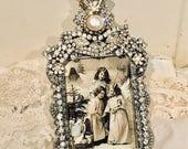 Vintage Jewel Clear Rhinestones & Pearl Super Sparkling! Photo Picture Frame OOAK Elegant Perfect for Weddings