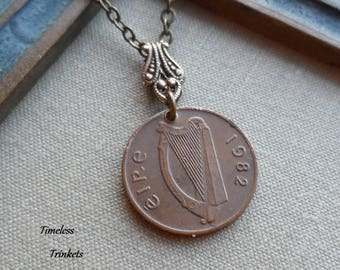A Pence for Your Thoughts, Reversible Irish Vintage Coin Necklace, 1982, Harp and Ornamental Bird