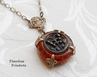 Antique Button Necklace, Depression Glass and Victorian Button, Brown Amber