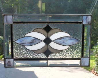 Stormy Blues,White & Gray Stained glass and Beveled Panel!