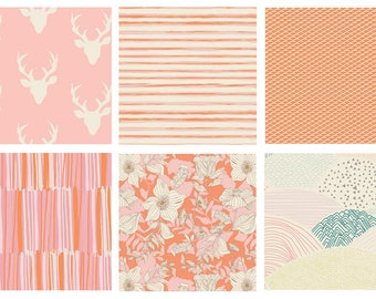 6 FABRIC QUILT BUNDLE - Hello Bear - Morning Walk - Art Gallery - Bonnie Christine - Quilting Fabrics for Girl's Nursery - Pink Deer Antlers