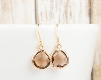 Smoky Brown Gold Earrings, Brown Gold Dangle Earrings, Smoky Drop Earrings, Bridesmaid Jewelry, Brown Wedding Accessories