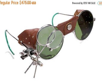 Steampunk Goggles Antique RARE AIRCO Steam Punk Glasses GREeN Tint Leather RaRE PERFORATeD Side Shields Burning Man PERFECT! - by edmdesigns