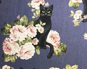 Cosmo Black Cats and Peonies kawaii cotton linen fabric in dusky purple AP81306-4