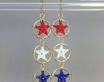 Stars, red white and blue silk earrings, 14K gold-filled