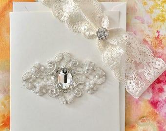 Swarovski Crystal Trim Card with Bridal Garter in French Lace,  Weddings, Wedding Garter, Something Blue, White Garters, Ivory Garters