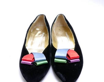 Summer Sale Vintage Arthur Beren Shoes // 80s Velvet Slip Ons // Multicolored Satin Bow // 8.5 9