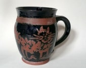 Black Kitty Cat Mug Made with Red Stoneware Clay - Wheel Thrown Pottery - Holds 18 ounces with 1/2 inch to spare!  My Psycho Cat!