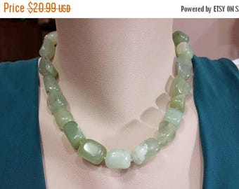 ON-SALE New Jade Necklace - Nugget Statement Necklace, Seagreen Nugget Gemstone,  New Jade Necklace, Handmade Jewelry