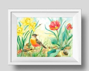 Robin Watercolor Print - Bird Watercolor Print - Modern Farmhouse Print - Farmhouse Decor - Mothers Day Gift