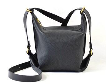 Connie - Black Leather Shoulder Bag Handmade SS18