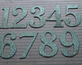 """2 1/2"""" Numbers 1-20 seafoam green glitter cardstock/chipboard sticker die cuts great for wedding table numbers"""