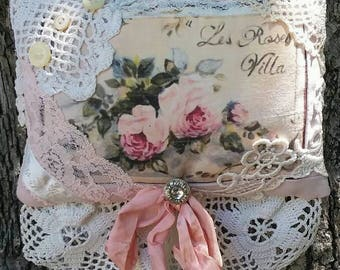 Shabby Lavender Sachet French Roses Vintage Lace and Buttons