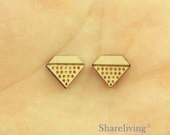 6pcs Wooden Diamond Charm / Pendant, DIY Laser Cut Mini Blank Wood Charm, Perfect for Earring  - HWD512C