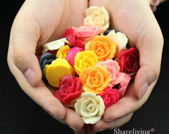 Clearance Sale -  Lots of 100pcs Mixed Color 3D Resin Rose Flower Cabochons Charms  -- CLS004B