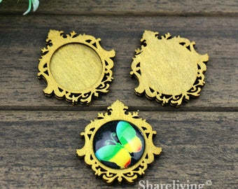 4pcs Antique 25mm Wood Tray,  Vintage Wooden Filigree Frame Setting Charm / Pendant,  Perfect for Necklace  HW741F