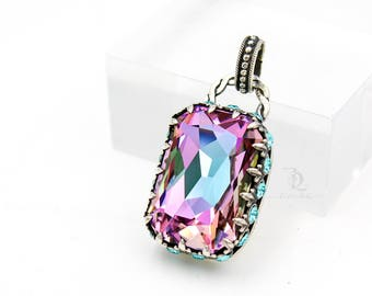 Duchess Pendant // Swarovski and Sterling Silver Sparkle Pendant, by BellaLili, Welded Silversmith