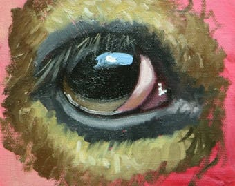 Cow Eye painting 1 6x6 inch original portrait figure oil painting by Roz