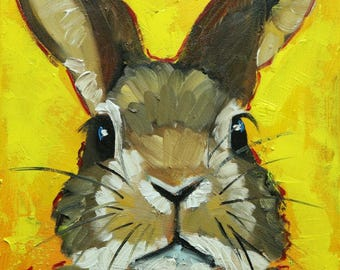 Rabbit painting 70  12x12 inch original oil painting by Roz