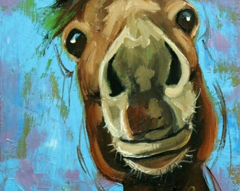 Horse painting 19 12x16 inch animal original oil painting by Roz
