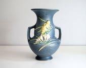 1945 Roseville Freesia Vase, American Art Pottery, Delft Blue Yellow, Vintage Fine Art Ceramic Vase, Cottage Chic Decor, Flowers 122-8