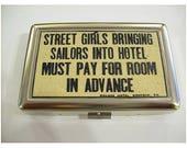 Street girls and sailors cigarette case retro metal wallet vintage business card rockabilly kitsch