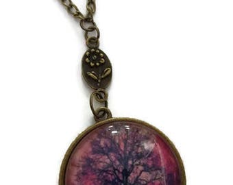 Glow in the Dark Tree Cabochon Necklace