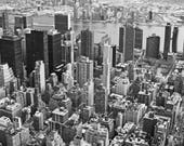 New York skyline, black white NYC art, NYC aerial view, New York City photo, New York sky line, Architecture Art, Architecture Photo