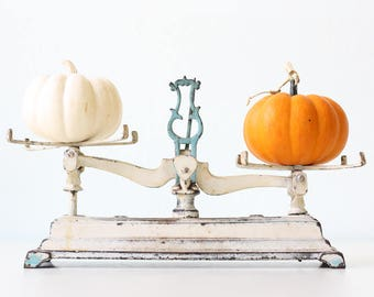 Vintage Iron Scales, White and Blue Chippy Old Scales, 3K