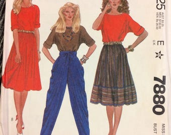 Vintage Sewing Pattern McCall's 7880 Liz Claiborne Designer Top, Skirt, and Pants  Size 12 Bust 34 inches UNCUT