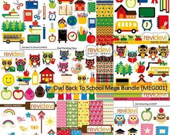 50% OFF SALE Back to school clipart big mega bundle - commercial use digital images, instant download