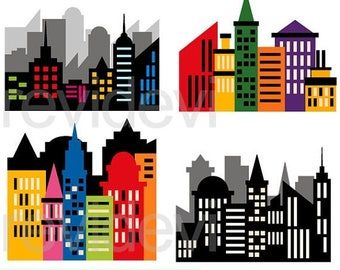 50% OFF SALE Superhero clipart - CIty buildings block clipart - Skyscraper clip art - Superhero city scene clipart - Digital images