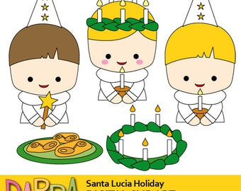 St. Lucia's day clipart / Holidays aournd the world clip art commercial use / Sweden Swedish kids clipart / Santa Lucia day, Saint Lucy