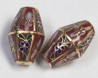 Vintage CLOISONNE Beads RED Focal Bi Cone Hexagonal Barrel 23mm pkg 2 clo107