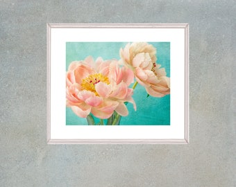 Printable Peony Flower Wall Art, Coral Turquoise Art, Peony Photography, Peony Poster, Large Peony Art, Beach Cottage Decor