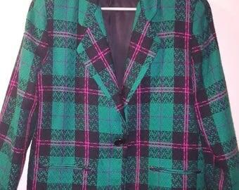 Women's 1980s Funky Green Tweed Blazer Jacket by Tofy
