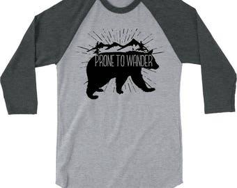 Prone to Wander Raglan Tshirt - XS to XL - 100% USA ring-spun cotton - Hiking, Travel, Camping, Outdoors Tshirt
