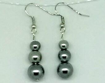 Gray Triple Beaded Glass Pearl Earrings