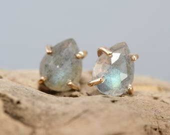 Labradorite stud earrings, rose cut labradorite earrings, labradorite and gold filled studs, Rachel Wilder Handmade Jewelry