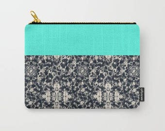 carry-all pouch-turquoise and black-modern design-pencil case-coin purse-make-up bag-toiletries bag-purse organizer-fabric pouch