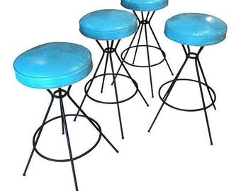 set of 4 vintage midcentury bar stools in turquoise