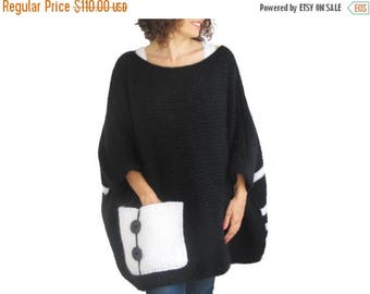 20% WINTER SALE Plus Size - Over Size Sweater Black - White Hand Knitted Sweater with Pocket Tunic - Sweater Dress by Afra