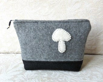 Mushroom Zip Pouch, Eco Friendly, Upcycled Sweater Wool Clutch in Gray