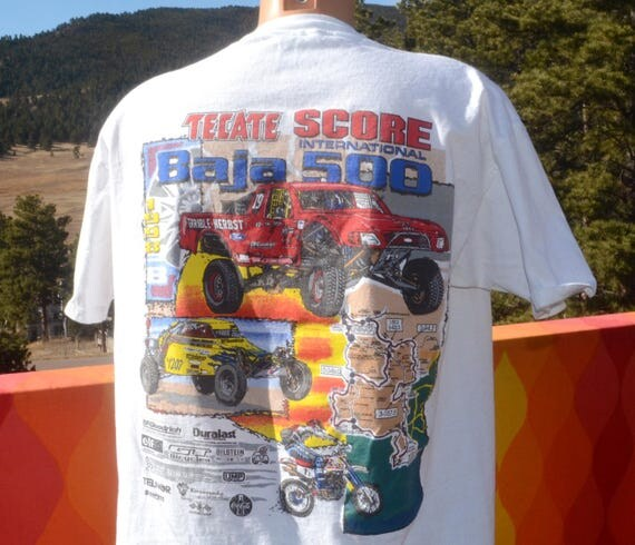 vintage 90s t-shirt BAJA 500 off road nascar tecate score racing tee XL Large