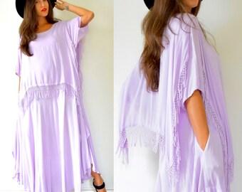 SUMMER SALE/ 30% off Vintage 70s Lilac Purple Moroccan Fringe Free Size Tent Dress
