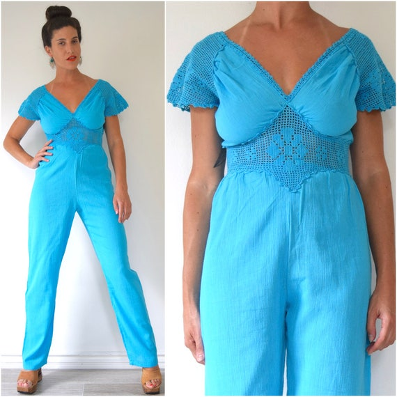 SUMMER SALE / 20% off Vintage 70s Turquoise Blue Cotton Gauze Jumpsuit with Crocheted Sleeves and Waistband (size xs, small)