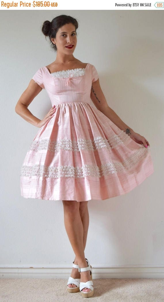 SUMMER SALE / 20% off Vintage 50s Powder Puff Pink Polished Cotton Lace Ruffled New Look Party Dress (size xs, small)