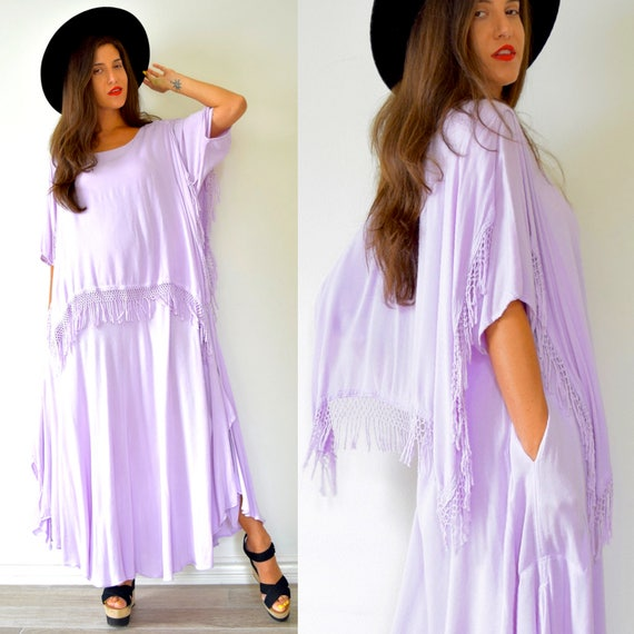 SUMMER SALE/ 30% off Vintage 70s Lilac Purple Moroccan Fringe Free Size Tent Dress
