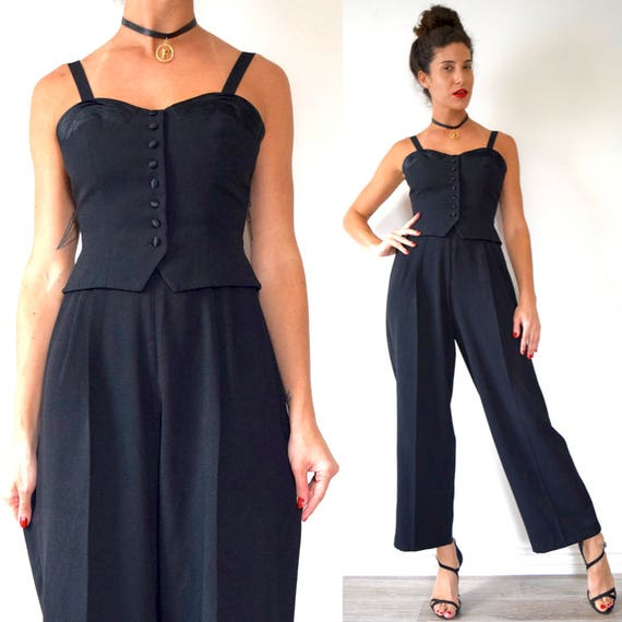 Vintage 80s 90s Jet Black Wide Legged Button Up Bodice Jumpsuit (size xs, small)